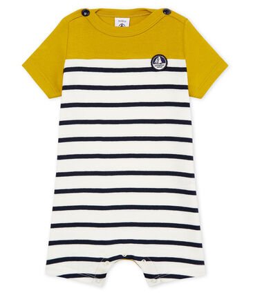 Baby boys' Shortie in striped cotton Bamboo yellow / Marshmallow white