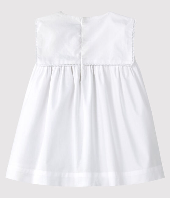 Baby Girls' Sleeveless Poplin Formal Dress Ecume white