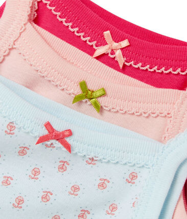 Pack of three baby girl bodysuits with straps