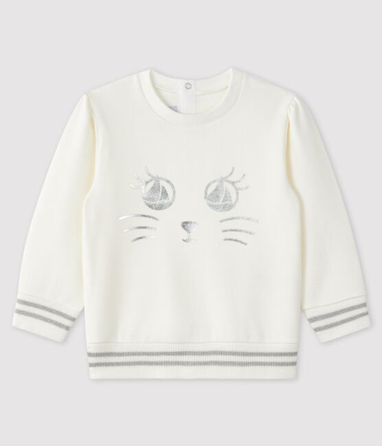 Baby boy's fleece sweatshirt Marshmallow white