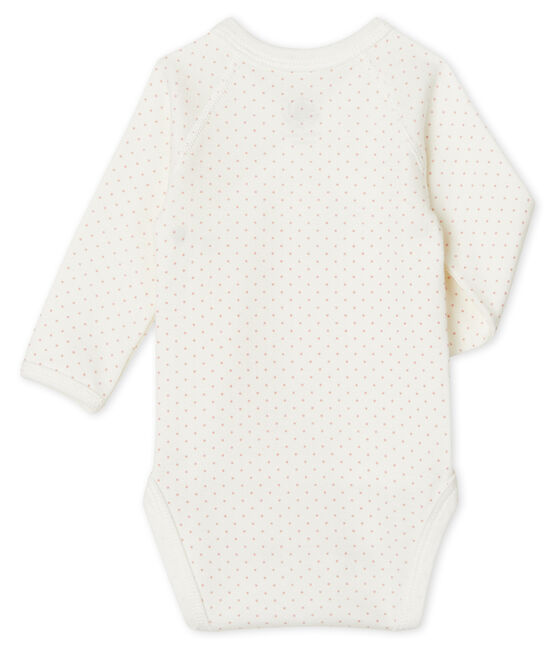 Newborn Babies' Long-Sleeved Bodysuit Marshmallow white / Charme pink