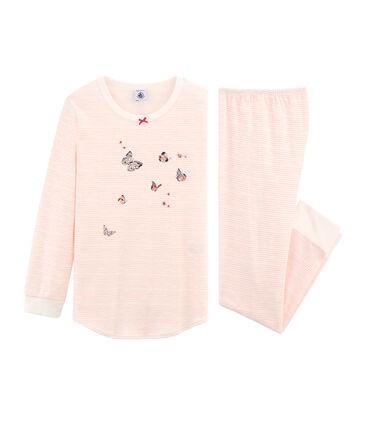 Girls' Pyjamas in Cotton Marshmallow white / Rosako pink