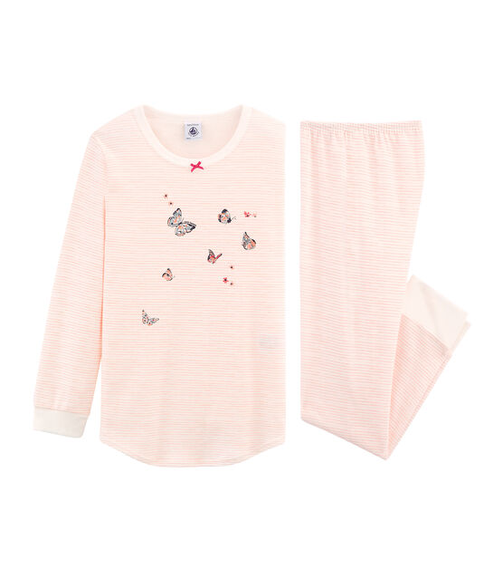 Girls' Pyjamas in Cotton Marshmallow white / Rosako pink
