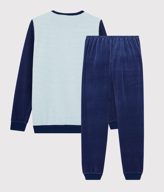 Boys' Striped Velour Pyjamas Medieval blue / Multico white