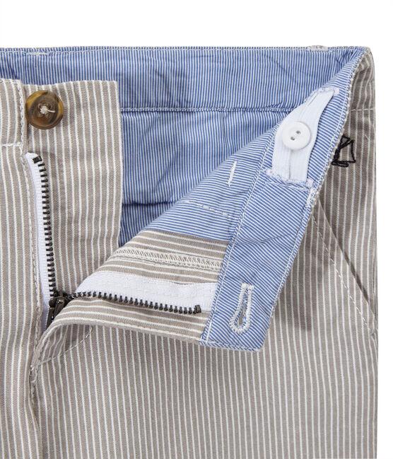 Boys' striped bermuda shorts Minerai grey / Lait white