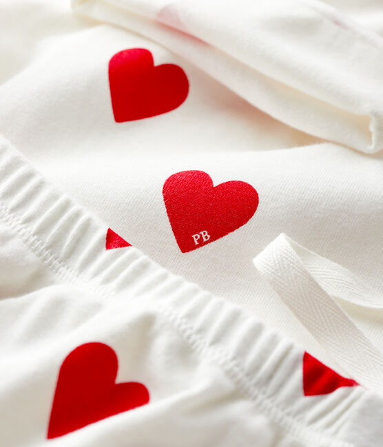 Baby girl's red hearts rib-knit gift set Marshmallow white / Terkuit red