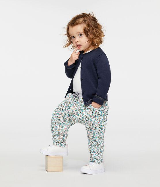 Baby Girls' Printed Fleece Trousers Beluga grey / Multico white