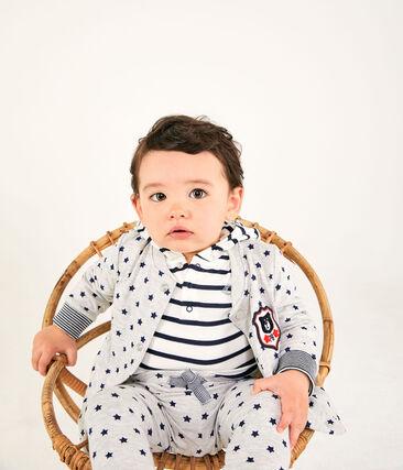 Baby Boys' Printed Tube Knit Cardigan Beluga grey / Smoking blue