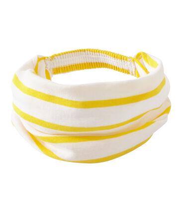 Girl's striped headscarf Marshmallow white / Shine yellow