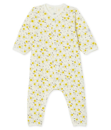 Baby Boys' Long Wool/Cotton Jumpsuit Marshmallow white / Multico white
