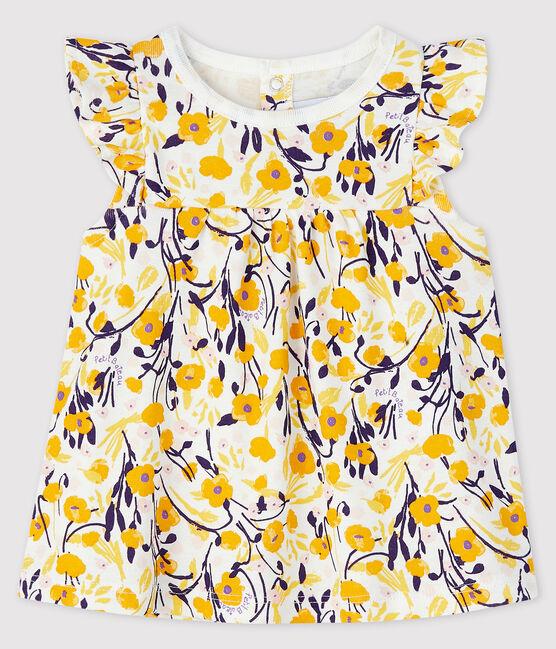 Baby girl's short-sleeved blouse Marshmallow white / Multico white