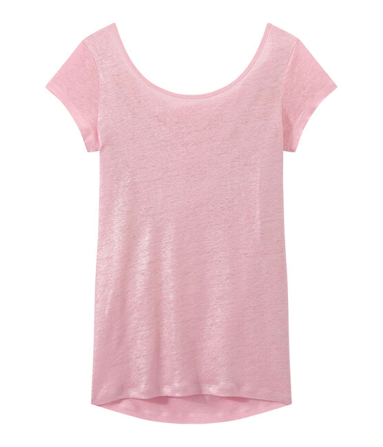 Women's iridescent linen tee with cowl neck at the back Babylone pink / Argent grey