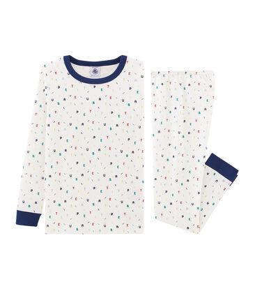 Boys' Snugfit Ribbed Pyjamas Marshmallow white / Multico white