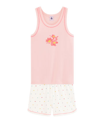 Girls' Ribbed Short Pyjamas Minois pink / Multico white