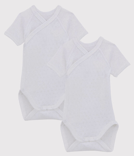 Babies' White Short-Sleeved Wrapover Organic Cotton Lace Knit Bodysuits - 2-Pack . set