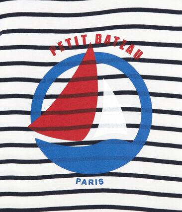 women's navy blue striped t-shirt Marshmallow white / Smoking blue
