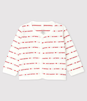 "Petit Bateau Babies' Organic Cotton Cardigan With Woven ""Je t'aime"" Marshmallow white / Terkuit red"