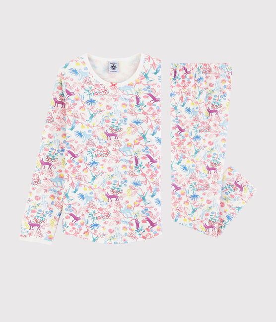 Girls' Jungle Print Cotton Pyjamas Marshmallow white / Multico white
