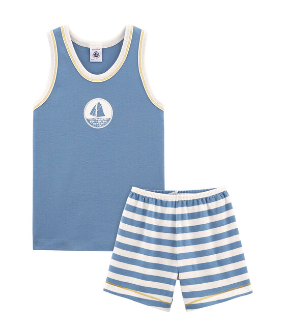 Boys' short Pyjamas Alaska blue / Marshmallow white