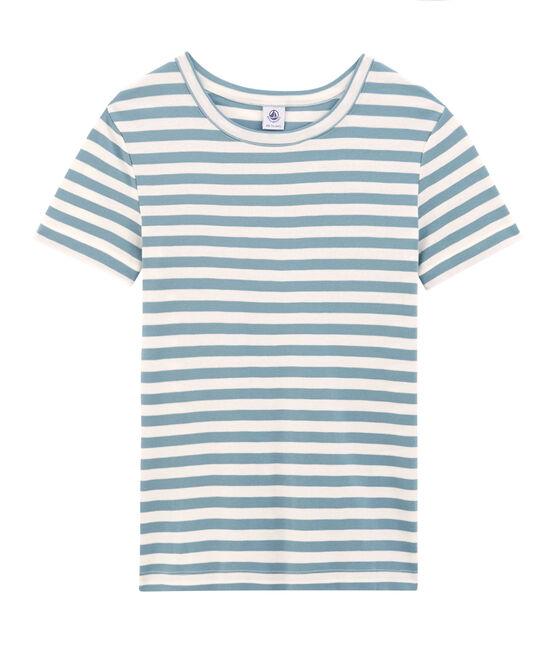 Women's short-sleeved crew neck iconic t-shirt Fontaine blue / Marshmallow white
