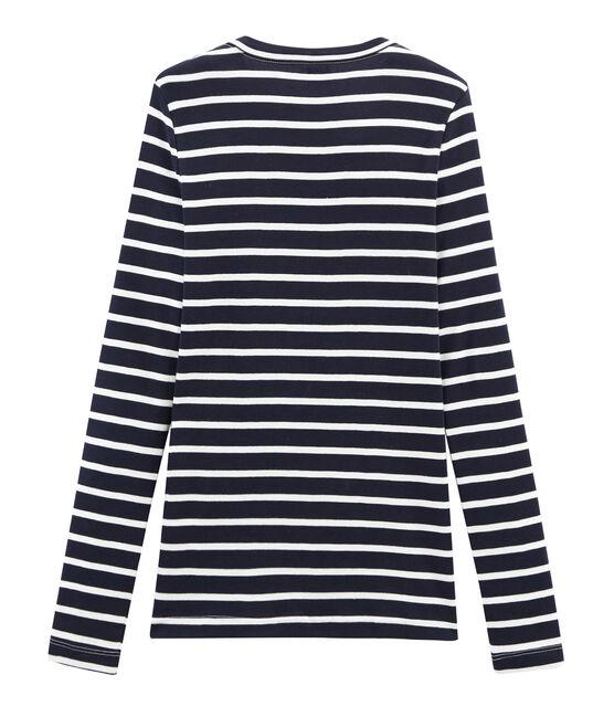 women's long sleeved striped t-shirt Smoking blue / Marshmallow white
