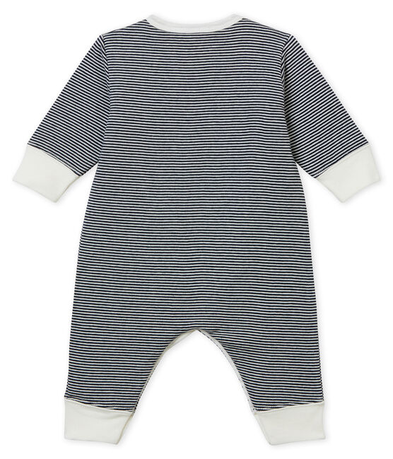 Baby Boys' Tube-Knit Footless Sleepsuit Smoking blue / Marshmallow white