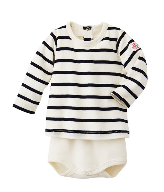 Baby's striped T-shirt bodysuit Coquille beige / Abysse blue