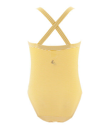 Girls' One-Piece Swimsuit Bamboo yellow / Marshmallow white