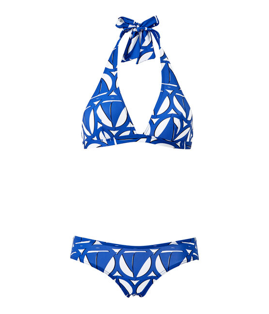 Women's printed two-piece swimsuit Marshmallow white / Perse blue