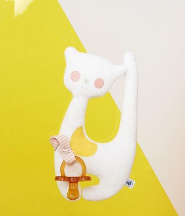 Baby Girls' Dummy Holder Comforter in Towelling Marshmallow white