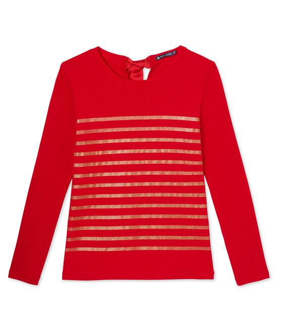 Women's sequin-stripe T-shirt Froufrou red