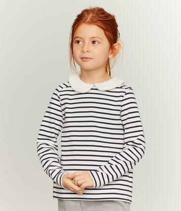 Girl's Long-sleeved Sailor Top Marshmallow white / Smoking blue
