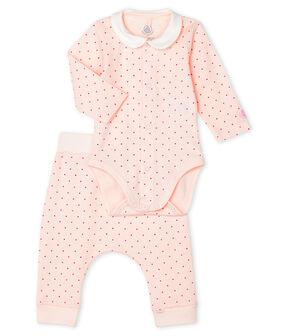 Baby Girls' Ribbed Clothing - 2-piece set Fleur pink / Geisha pink