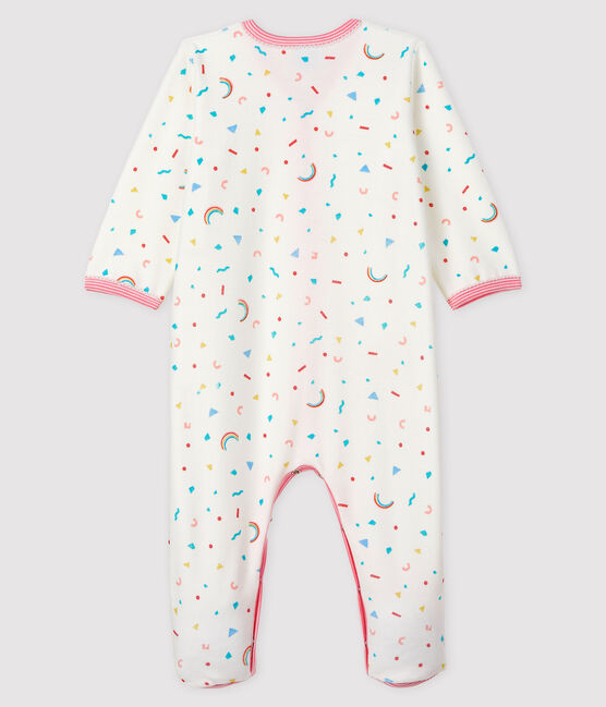 Baby Girls' Confetti Print Velour Sleepsuit Marshmallow white / Multico white