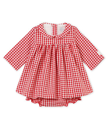 Long-sleeved gingham dress and bloomers