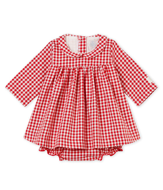 Long-sleeved gingham dress and bloomers Terkuit red / Marshmallow white