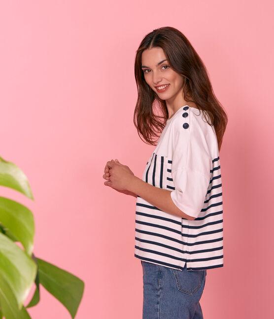 Women's short-sleeved stripy breton top Marshmallow white / Smoking blue