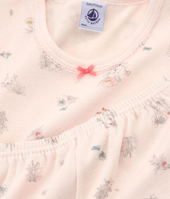 Girls' Snugfit short Pyjamas Fleur pink / Multico white
