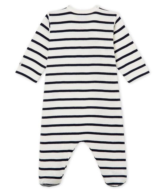Babies' Ribbed Sleepsuit Marshmallow white / Smoking blue