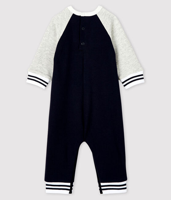 Baby boy's long playsuit Smoking blue / Beluga grey