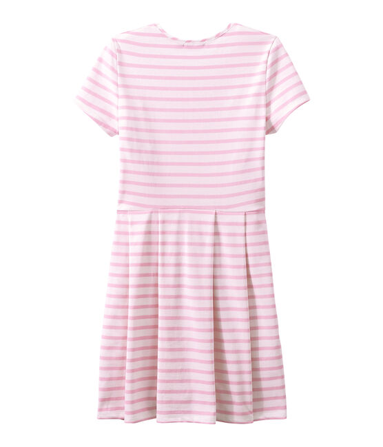 SHORT SLEEVE DRESS Marshmallow white / Babylone pink