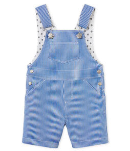 Baby boys' striped cloth short dungarees
