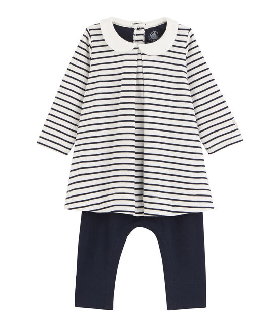 Baby girl's leggings dress Marshmallow white / Smoking blue
