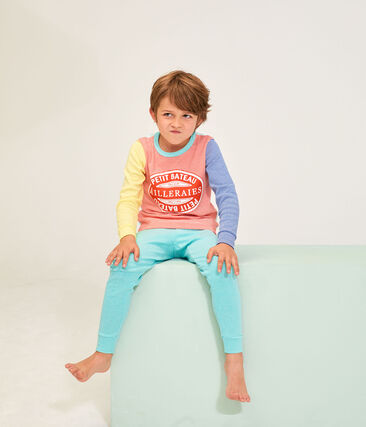 Boys' Ribbed Pyjamas Marshmallow white / Multico white