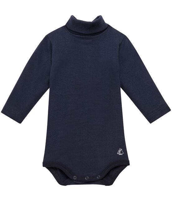 Baby roll neck bodysuit Smoking blue