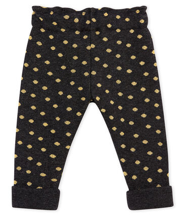 Baby girl's trousers with gold polka dot print