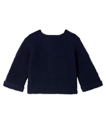 Baby Girl's Wool/Cotton Moss Stitch Cardigan Smoking blue