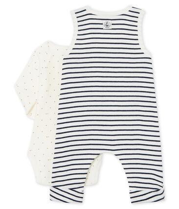 Baby Boys' Ribbed Clothing - 2-Piece Set Marshmallow white / Smoking blue
