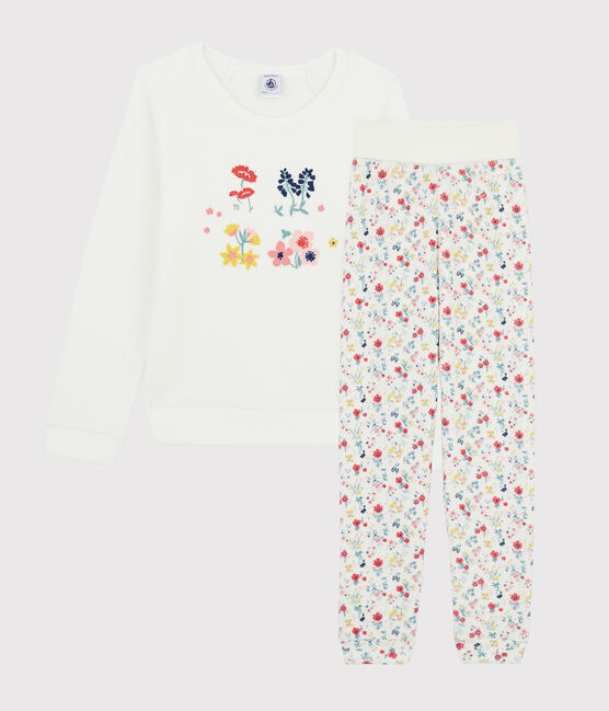 Girls' High-waisted Pyjamas in Brushed Terry Towelling Marshmallow white / Multico white