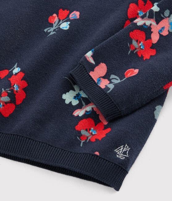 Girls' Cotton Pullover Smoking blue / Multico white